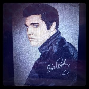 Elvis Presley Vtg Fringed Throw Blanket yba2